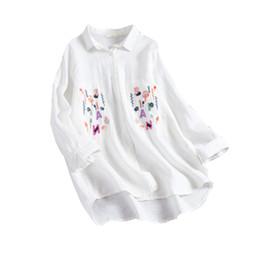 Wholesale Women Blouse Cartoon - Embroidery Letter Blouse Shirt Cartoon Appliques Shirt 2018 Spring New Arrival Women Long Sleeve Loose Cotton Linen