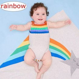 Wholesale knitted baby sweater for girl - Newborn Striped Rainbow romper Baby Girls Boys Sleeveless Knitted Jumpsuit Cotton Sweater Outwear 3colors 4size for 0-2T