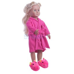 Wholesale Plush Hippo - Adorable Pajamas Nightgown Night-robe + Hippo Plush Slippers Shoes for 18'' American Girl Our Generation Dolls Clothing ACCS
