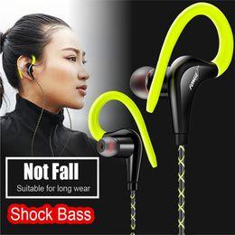 Wholesale Cell Phone Earpiece Ear Hooks - Fonge Earpiece S760 Stereo Super Bass Headphones Waterproof Earphones Ear Hook Earbuds Sport Running Headset With Mic for iphone Xiaomi