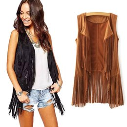 long suede vest Coupons - Women Autumn Spring Vest Long Tussals Waistcoat Faux Suede Ethnic Sleeveless Tassels Fringed Vest Cardigan