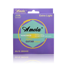 Wholesale Phosphor Bronze - Acoustic Guitar Strings Steels Amola A3100 010-047 Phosphor Bronze Coating Acoustic Wound Guitar Strings Ultra Thin