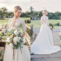 Wholesale black open back pearl dress - Modern 3 4 Long Sleeve Cheap Wedding Dresses Open Back Vintage Lace Pearls Chapel Train V-Neck 2018 Country Garden Bobo Bridal Wedding Gowns