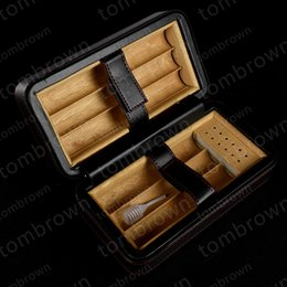 Wholesale Cedar Wood Boxes - High Quality White Carton Box Cigar Humidor Cedar wood Lined Cigarette humidor Portable Carrying Travel Packets New Leather