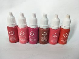 Wholesale Micro Pigments - 6pcs biotouch tattoo ink Permanent makeup micro pigment KIT 15ml for 3d lip rose red pink mixed colors