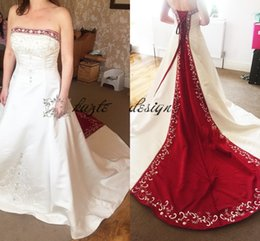 Wholesale Crystals Drop Waist Wedding Dresses - Gorgeous satin Natural Waist A Line Embroidery Wedding gowns with Rhinestones 2018 Vintage Corset Red and White Wedding Dresses