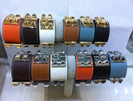 Wholesale Top Brand Bracelets Men - New arrival Top quality 316L Titanum steel bracelet with genuine leather in many colors Women and man in length 22cm width 3.8cm brand name