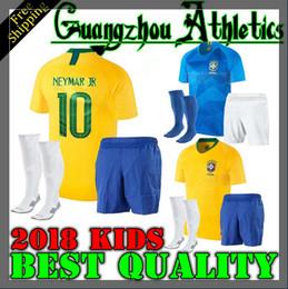 Wholesale Brazil Football Soccer - 2018 World Cup NEYMAR JR Brazil kids Jersey G.JESUS P.COUTINHO MARCELO RONALDINHO DAVID LUIZ Soccer Jersey 18 19 Brazil Football Jersey