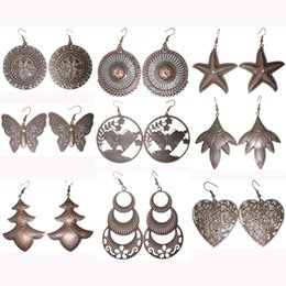 Wholesale Retro Circle Earring - Vintage Earrings Mix 9 Styles Circle Flower Starfish Butterfly Christmas Tree Love Heart Wholesale Lots Women Retro Dangle Eardrop (JC009)