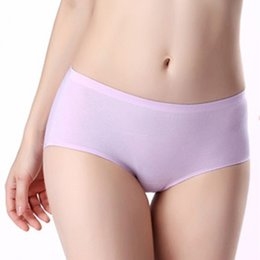 Wholesale Young Girls Bikinis - ZOCBBT Pure Cotton Solid Color Simple Mid-Rise Briefs Panties Free Size Soft Women School Young Girl White Collar Lady Panty