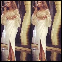 Wholesale Myriam Fares Dress - Arabic Dubai White Prom Dresses Long Party Dresses myriam fares Pearls Beaded Evening Dresses Front Split Skirt robe de soiree Long Sleeve