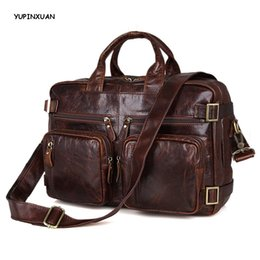 Wholesale vintage leather satchels for men - YUPINXUAN Cow Leather Handbags for Men Genuine Leather Messenger Bags High Capacity Briefcases Cowhide Travel Hombre Hand Bags