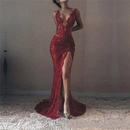 Wholesale Celebrities Spaghetti Dresses - Prom Dresses 2018 Lace Sexy Red Spaghetti Straps V-Neck Side Split Mermaid Evening Gowns Sleeveless Plus Size Custom Made Celebrity Dresses