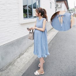 Wholesale Tank Dresses For Women - Summer Fashion Ruching Linen Vest Maternity Long Dress Back Frenal Ruffles Loose Tank Clothes for Pregnant Women
