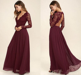 Wholesale Cheap Long Length Dresses - 2017 Lace Burgundy Bridesmaid Dresses Chiffon Skirt Illusion Bodice Long Sleeves A-Line Junior Bridesmaid Dresses Cheap for sale