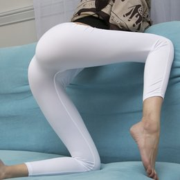 see leggings Promo Codes - New Sexy Ice Silk Transparent One-piece Leggings See Through Pencil Pants Erotic Lingerie Club Wear Front aAnd Rear Seamless
