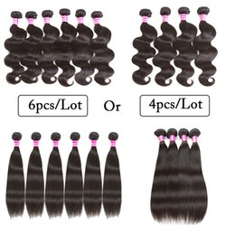 Wholesale Cheap Wavy Remy Hair - 10A Grade Brazilian Peruvian Human Hair Weaves Wet And Wavy Body Wave Straight 4 Bundles Or 6 Bundles Cheap Human Hair weft