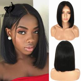 Короткий боб парики черный парик для женщин перуанский девственницы парик человеческих волос с волосами младенца 130% плотность шелковистой прямые волосы короткие парик от