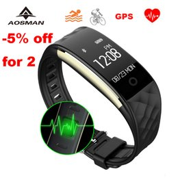 Wholesale Brown Monitor - Wholesale-AOSMAN sport gps hr waterproof heart rate monitor cardiaco S2 swimming braccialetto sport watch bluetooth wristwatch PK fitbit