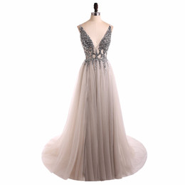 Wholesale Collections Photos - Real Made 2018 Collection Sexy V-Neck Evening Dress A-Line Tulle Skirt Backless Sweep Train Women's Occasion Dress