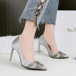 Wholesale Gray Dress Shoes Women - Shoes Woman Pointed Toe Pumps High Heels Sandals Silk Slip on Slides Shallow Wedding Shoes Black Gray Green Red