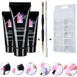 kits de cepillo de uñas Rebajas Poly Gel Set 15ml Quick Building Finger Extension Camuflaje UV LED Builder Gel Nail Art Tips Kit de herramientas de cepillo 4pcs DIY