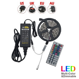 Wholesale Remote Leds - Waterproof Strips IP65 5M 300 Leds 5050 RGB Led Strips 60 leds + Remote controller +12V 5A power supply EU US AU UK Plug