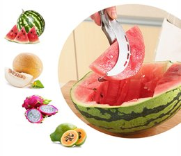 melon cutter cantaloupe Promo Codes - 20*2.5CM Watermelon Slicer Melon Cutter Knife Fruit Segmentation Watermelon Corer Cantaloupe Slicer Scoop Double-blade DHL