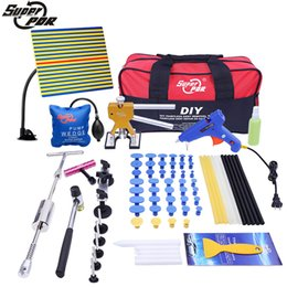 Wholesale Puller Sets - PDR Tools Kit Paintless Dent Repair Tool Set for Car body dent removal tools set Glue Puller Glue Gun hand Tools Bag tabs