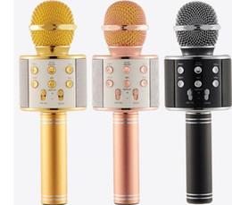 Registros de teléfono celular gratis online-WS858 Bluetooth inalámbrico Micrófono HIFI Reproductor de karaoke mágico MIC Altavoz Grabación de música para Iphone Android Tabletas para teléfonos celulares PC DHL gratis