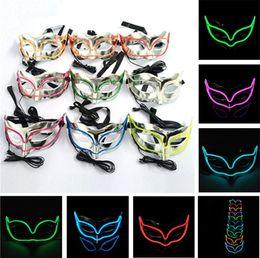 zorros de revestimiento Rebajas Máscaras de Navidad máscara de zorro EL línea máscaras Bauta Máscara LED fiesta de iluminación DJ danza máscara de carnaval, fiesta Máscara t5i00