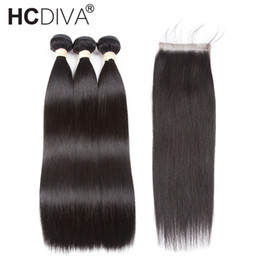 Wholesale Nature Hair Weave - Pre-colored Brazilian Straight Hair With Closure 3 Bundles 100% Remy Human Hair Bundle With Closure Nature Color HCDIVA Hair