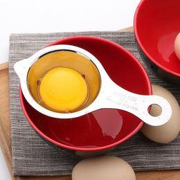 plastik-eierschneider Rabatt 10 teil / los Edelstahl Egg Divider Ei Separator 13 * 7 * 2,8 cm Eigelb Weiß Filter Tragbare Backen Werkzeuge Küchenhelfer