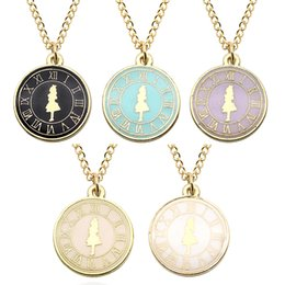Wholesale Metal Alice - Fashion Alice Girl Clock Necklace Gold Metal Enamel Cute Charm Pendant Alice In Wonderland Movie Jewelry Collares Wholesale