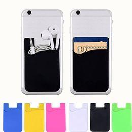 Los titulares de teléfonos celulares samsung online-Estuche para teléfono celular de silicona Estuche para billetera de teléfono Titular de tarjeta de identificación de crédito Palo de bolsillo en adhesivo 3M con bolsa OPP