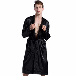 Wholesale long black silk nightgown - 1844Brand Long Robe Emulation Silk Soft Home Bathrobe Plus Size S-XXL Nightgown For Men Kimono Robes Autunm Spring Winter Summer