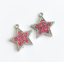 Wholesale hanging charms bracelets - 10pcs Hot Pink Full Rhinestone Star Charms Hang Pendants DIY Accessories Fit Keychain tags, Belts, bracelets, necklaces