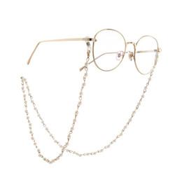 Porta-cadeias para óculos on-line-Pérola Frisado Óculos De Sol Óculos De Leitura Óculos De Cordão Titular Acessórios Óculos De Sol Venda