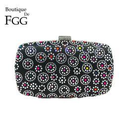 bolsos de flores negro Rebajas Boutique De FGG Hot Fixed Rhinestone Mujeres Black Flower Evening Bag Bolsos de moda Monederos Lady Wedding Nupcial Crystal Clutch