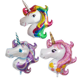 Wholesale Party Supplies Decorations - Unicorn Foil Balloons Animal Helium Ballons Globos Inflatable Classic Toys Birthday Party Decorations Kids Party Supplies Balloon 117*87cm