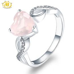 Anelli in argento sterling in quarzo online-Hutang Natural Gemstone Rose Quartz Anello di fidanzamento Solid 925 Sterling Silver Cuore Fine Fashion Stone Jewelry Amore infinito