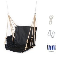 Wholesale Swings Chairs - Single garden balcony porch school dormitory cotton rope Oxford swing chair leisure hammock outdoor portable assembly swin