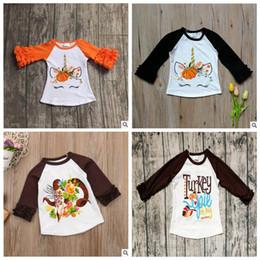 2019 día de ropa casual Baby Unicorn T-shirts Niños Día de Acción de Gracias Ropa con volantes Camisa con manga Diseñador impreso Camisetas Moda Casual Raglán Camisas YL321-1 rebajas día de ropa casual