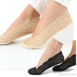 Calcetines sin costuras al por mayor online-Venta al por mayor- Verano tobillo 2016 Moda algodón mujer encaje calcetines zapatillas Invisible sin costura corte de barco calcetines gruesos