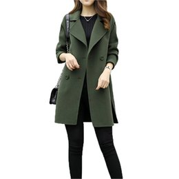 2019 mujeres de sombrero de piel real verde Abrigo de lana de las mujeres Nueva Moda Largo Suelta Doble botonadura Delgado Mujer Otoño Invierno Cálido Lana mezclas
