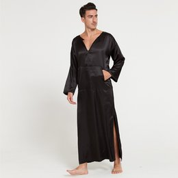 58fdcc7b05 chiffon bathrobe Coupons - men summer silklike long sleeve pullover  homewear bathrobes male sleepwear O-