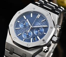 Acier bule en Ligne-41mm Royal Oak Luxury verre saphir pour montre en acier inoxydable bracelet brossé cadran bule Japon mouvement MIYOTA
