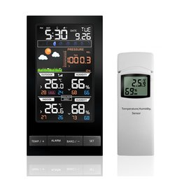Wholesale Wireless Weather - Weather Station Temperature Humidity Wireless Sensor Colorful LCD Display With Barometer Weather Forecast Radio Control Time