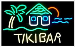 segni al neon di tiki Sconti Personalizzato New Tiki Bar House Real Glass Neon Sign light Birra Bar Sign Invia bisogno di foto 19x15 ""