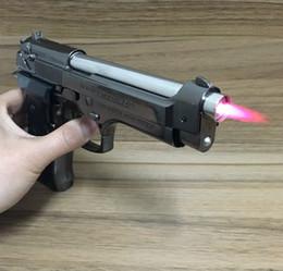 Wholesale accendino a forma di pistola a pistola in metallo PIETRO BERETTA mod fs M9 P Metallo antivento fondina a getto torcia regalo display modello argento